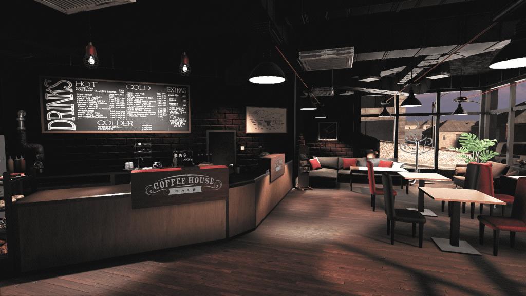 Coffee shop inside dark
